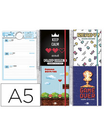 Agenda escolar liderpapel 19-20 fantasia din-a5 bilingue 70 hojas video games tapa forrada